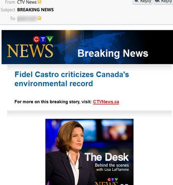 """Canadian liberalvision hearkens on Fidel Castro's anti-Harper thoughts as """"breaking news"""""""