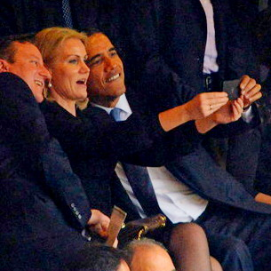 "Self-absorbed politico takes ""selfie."" At state funeral."