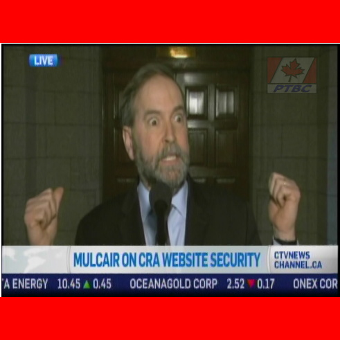 "Mulcair blames Harper ""regime"" for computer virus. Reporters come to Mulcair's aid."
