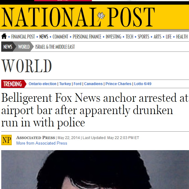 Belligerent Fox News anchor arrested at airport bar after apparently drunken run in with police