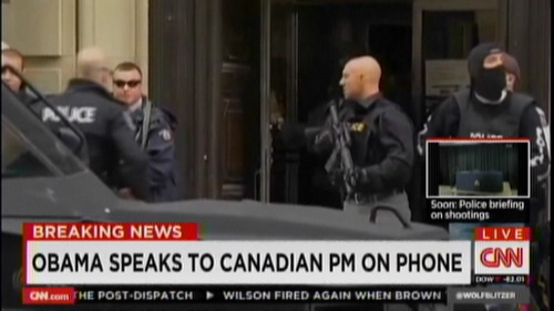 Another one: Ottawa soldier shot; gunman enters Parliament, shooting. QUESTIONS.