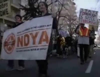 "NDP Youth; Communist-sounding folks goose-step at anti-war ""rally"""