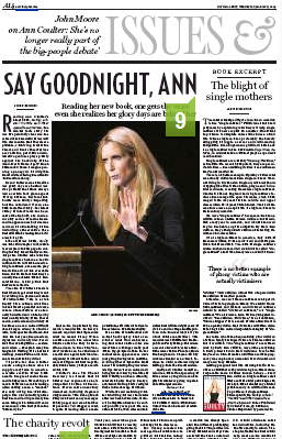 National Post and unknown radio talk jock bash Ann Coulter as irrelevant —in 3/4-page editorial!