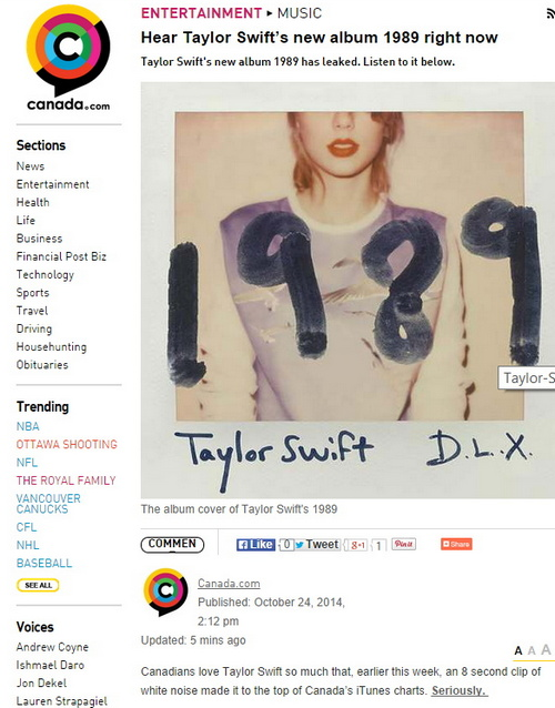 UPDATED – Media copyright concerns, eh? Postmedia apparently steals Taylor Swift music, posts on web site