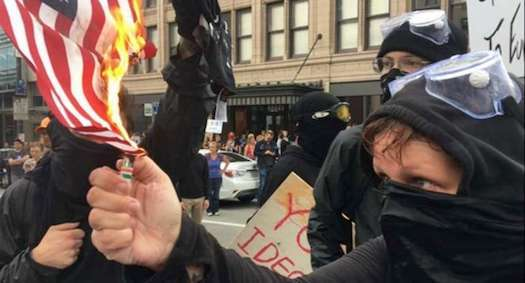 Antifa - violent, anti-American left-wing thugs who are apparently acceptable to the Democrats and the left-wing media